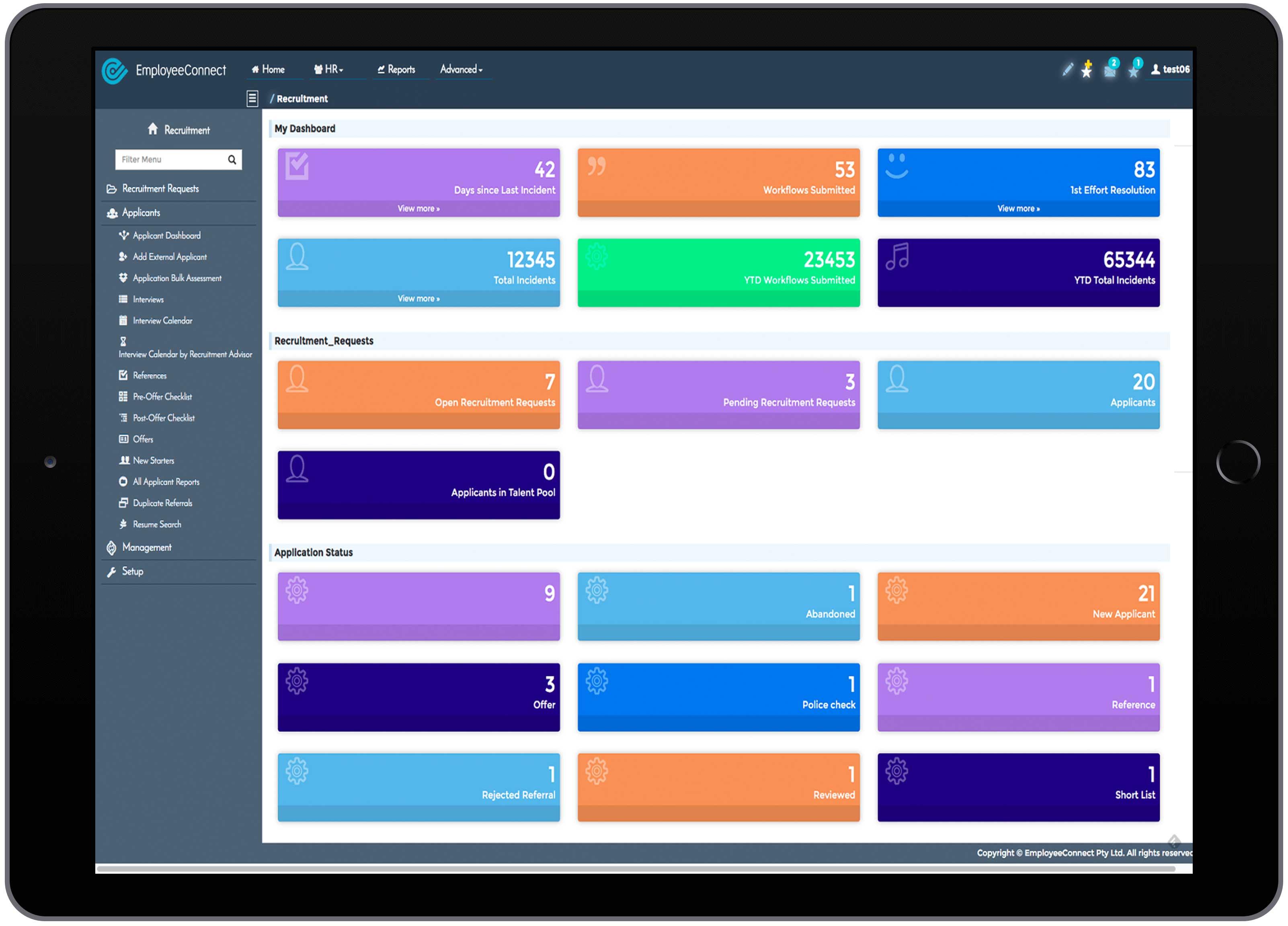 HR Recruitment Dashboard with Metrics - EmployeeConnect HRIS